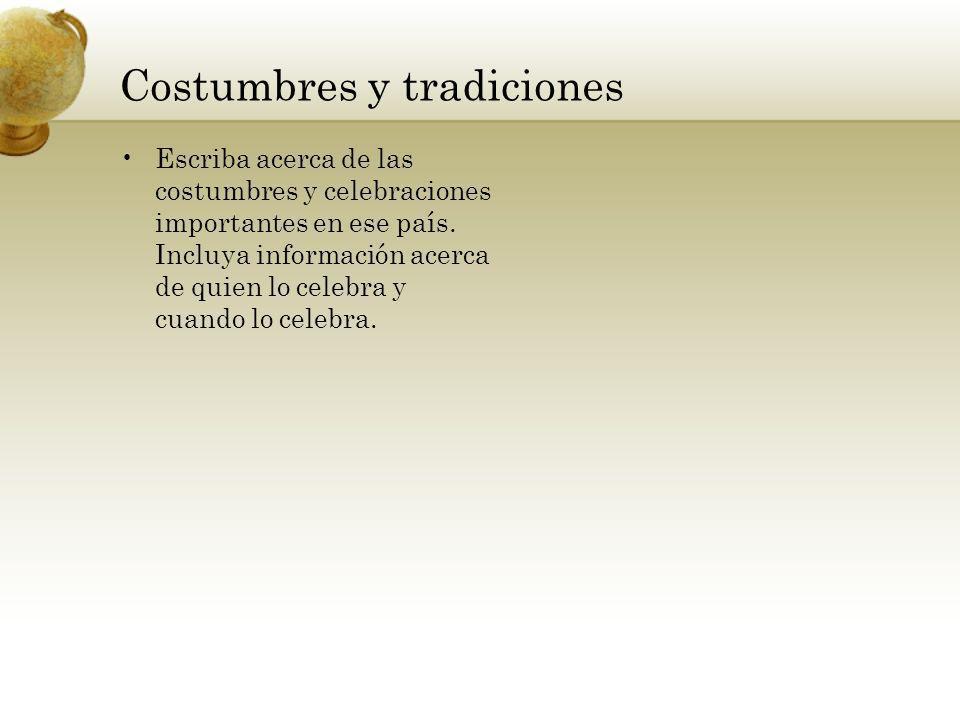 Costumbres y tradiciones Escriba acerca de las costumbres y celebraciones importantes en ese país.