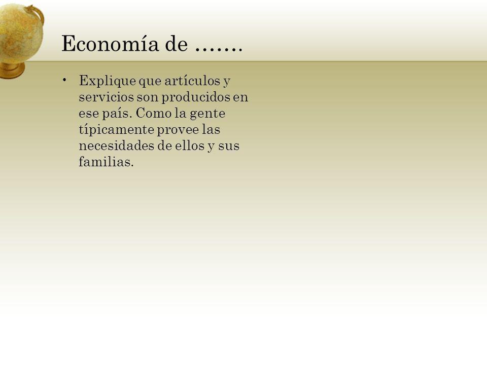 Economía de ……. Explique que artículos y servicios son producidos en ese país.