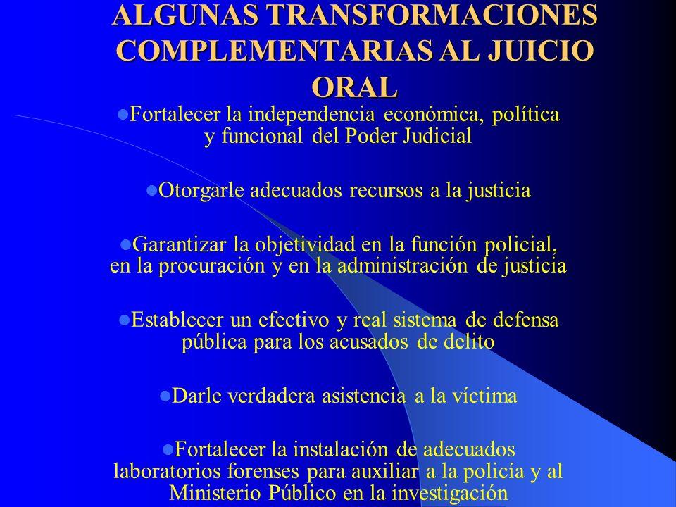 ALGUNAS TRANSFORMACIONES COMPLEMENTARIAS AL JUICIO ORAL Fortalecer la independencia económica, política y funcional del Poder Judicial Otorgarle adecu
