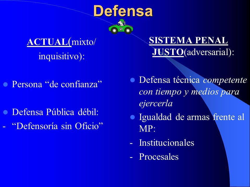 Defensa ACTUAL ( mixto/ inquisitivo): Persona de confianza Defensa Pública débil: -Defensoría sin Oficio SISTEMA PENAL JUSTO(adversarial): Defensa téc
