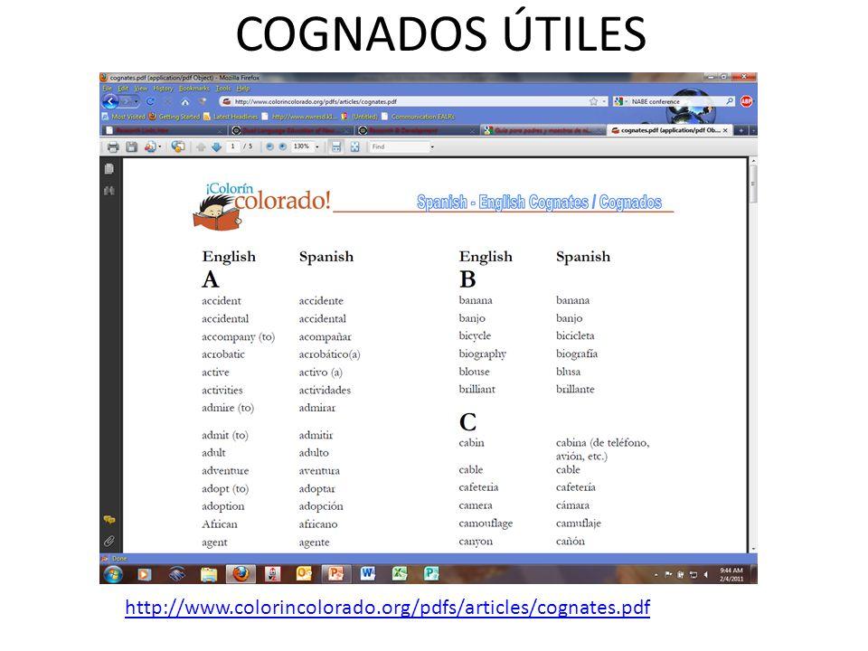 COGNADOS ÚTILES http://www.colorincolorado.org/pdfs/articles/cognates.pdf
