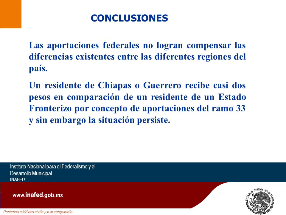 Poniendo a México al día y a la vanguardia Instituto Nacional para el Federalismo y el Desarrollo Municipal INAFED www. inafed.gob.mx CONCLUSIONES Las