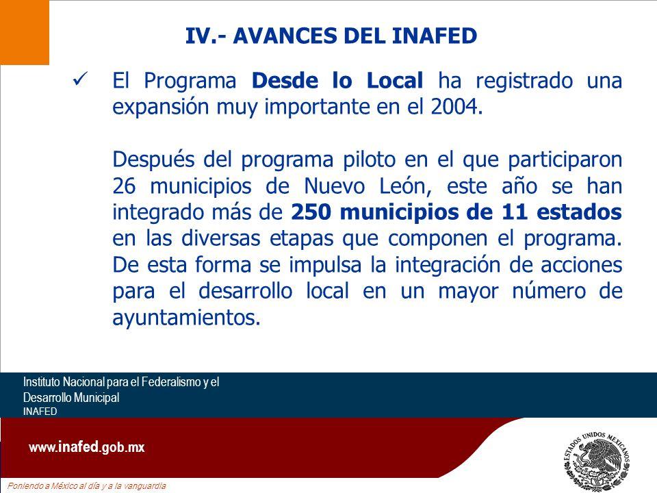 Poniendo a México al día y a la vanguardia Instituto Nacional para el Federalismo y el Desarrollo Municipal INAFED www. inafed.gob.mx El Programa Desd