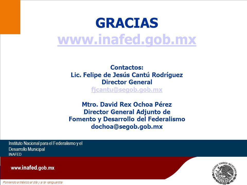 Poniendo a México al día y a la vanguardia Instituto Nacional para el Federalismo y el Desarrollo Municipal INAFED www. inafed.gob.mx GRACIAS www.inaf