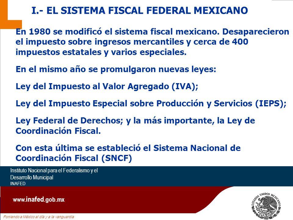Poniendo a México al día y a la vanguardia Instituto Nacional para el Federalismo y el Desarrollo Municipal INAFED www.