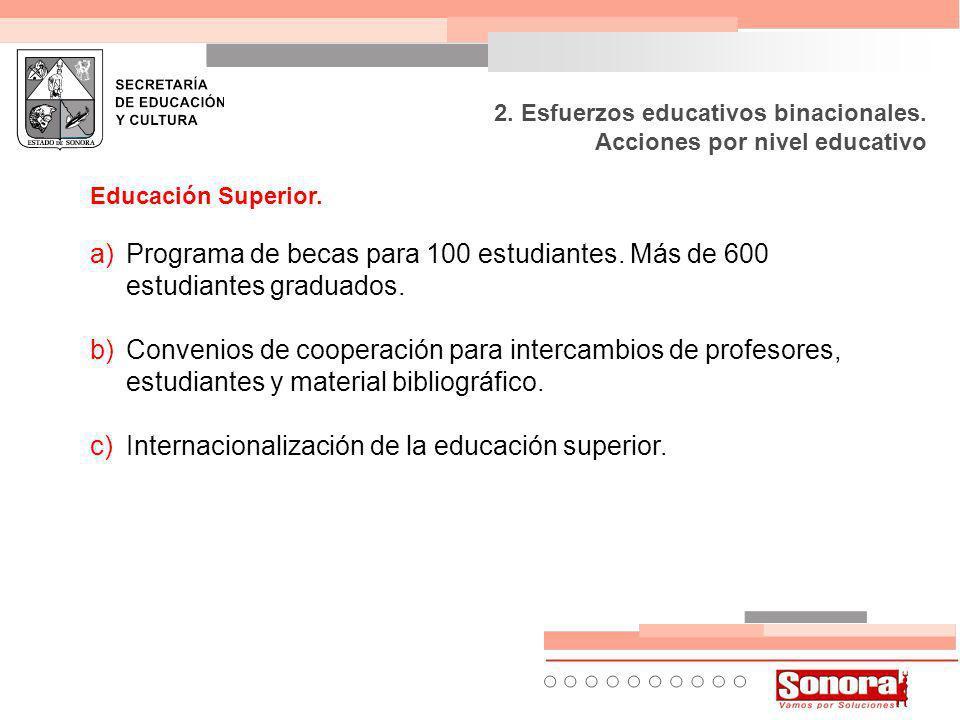 Educación Superior. a)Programa de becas para 100 estudiantes.