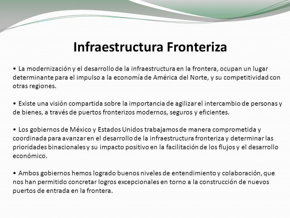 Infraestructura Fronteriza La modernización y el desarrollo de la infraestructura en la frontera, ocupan un lugar determinante para el impulso a la economía de América del Norte, y su competitividad con otras regiones.