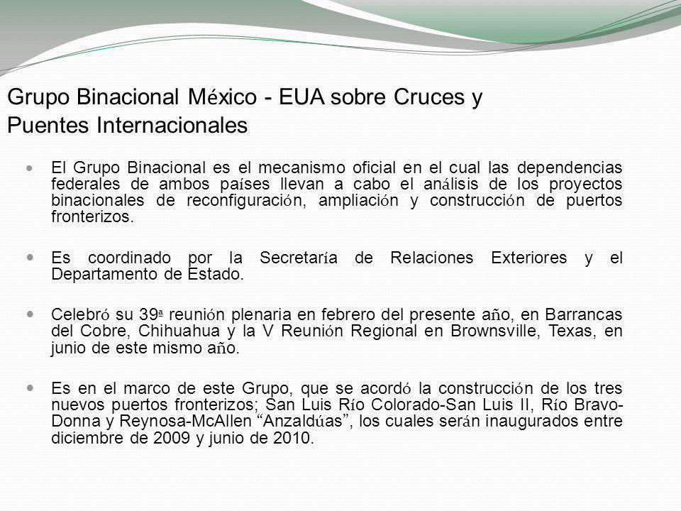Problemáticas y propuestas Infraestructura como palanca de desarrollo En materia de cruces y puentes fronterizos, es necesario impulsar y dar seguimiento a las prioridades establecidas para los próximos cuatro años en el marco del Grupo de Facilitación de Flujos Fronterizos y el Grupo Binacional México - EUA sobre Puentes y Cruces Internacionales.