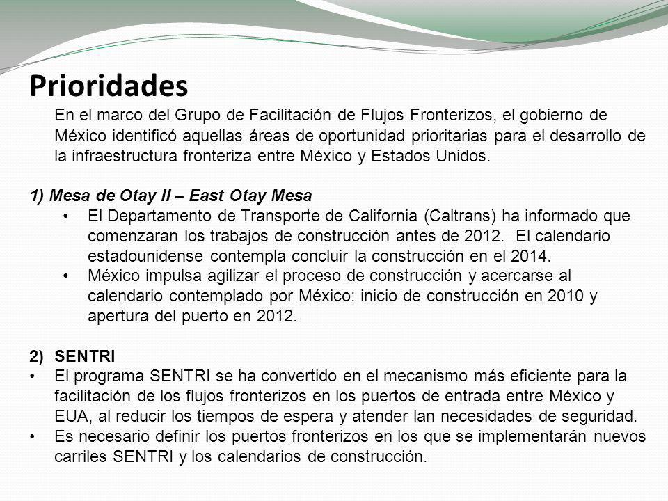 Prioridades En el marco del Grupo de Facilitación de Flujos Fronterizos, el gobierno de México identificó aquellas áreas de oportunidad prioritarias para el desarrollo de la infraestructura fronteriza entre México y Estados Unidos.