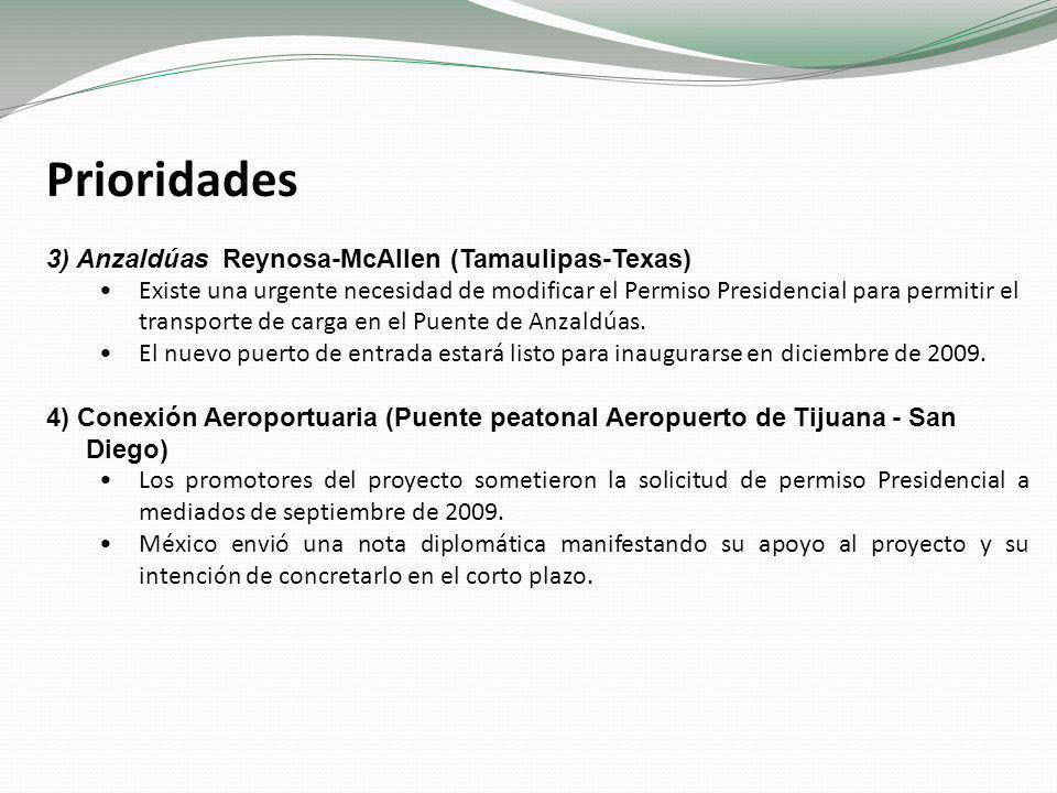 Prioridades 5) Proyectos Ferroviarios Se espera una resolución sobre las solicitudes de permiso Presidencial para Colombia – Webb (agosto 2007) y Nuevo Laredo – Laredo (diciembre 2008).