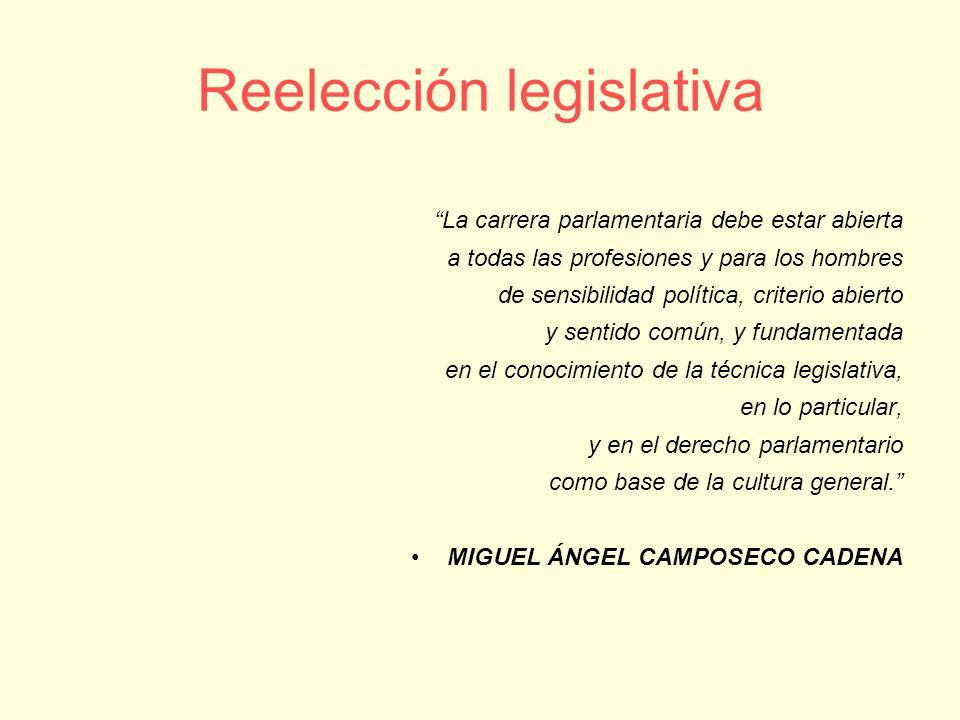 Reelección legislativa La carrera parlamentaria debe estar abierta a todas las profesiones y para los hombres de sensibilidad política, criterio abier