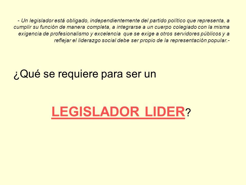 - Un legislador está obligado, independientemente del partido político que representa, a cumplir su función de manera completa, a integrarse a un cuer
