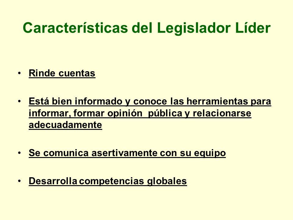 Características del Legislador Líder Rinde cuentas Está bien informado y conoce las herramientas para informar, formar opinión pública y relacionarse