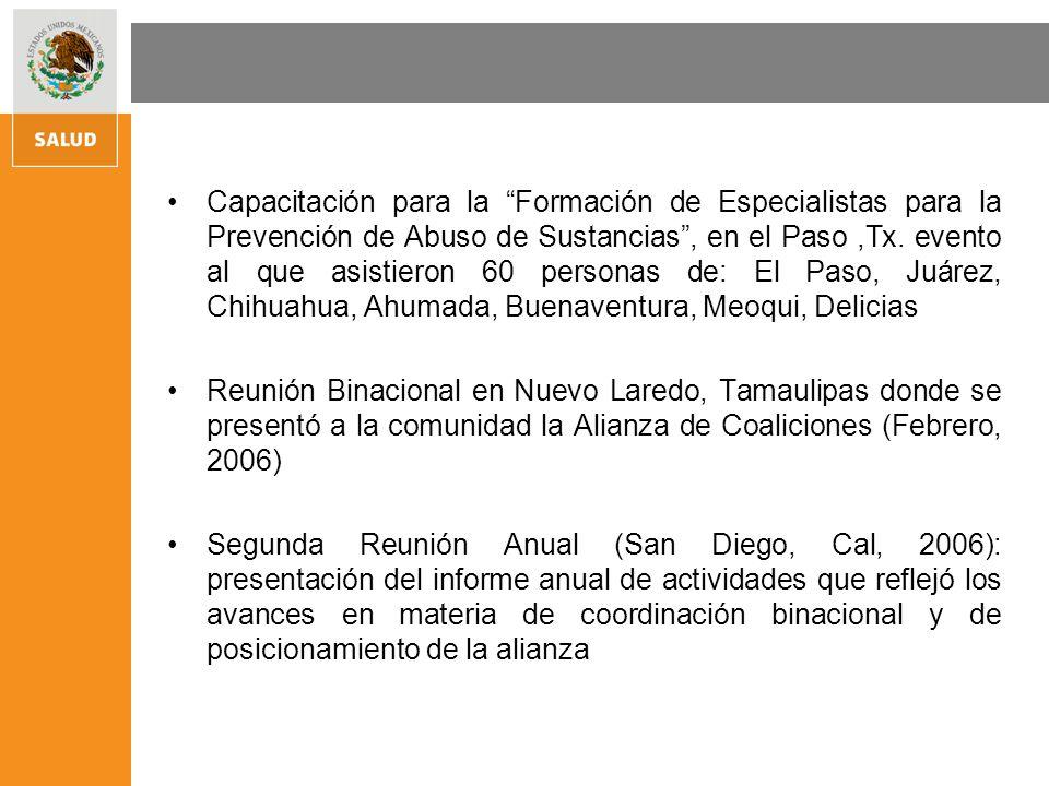 Capacitación para la Formación de Especialistas para la Prevención de Abuso de Sustancias, en el Paso,Tx.