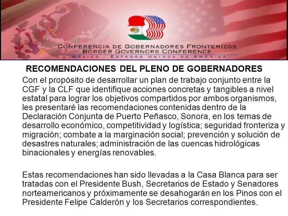 RECOMENDACIONES DEL PLENO DE GOBERNADORES Con el propósito de desarrollar un plan de trabajo conjunto entre la CGF y la CLF que identifique acciones c