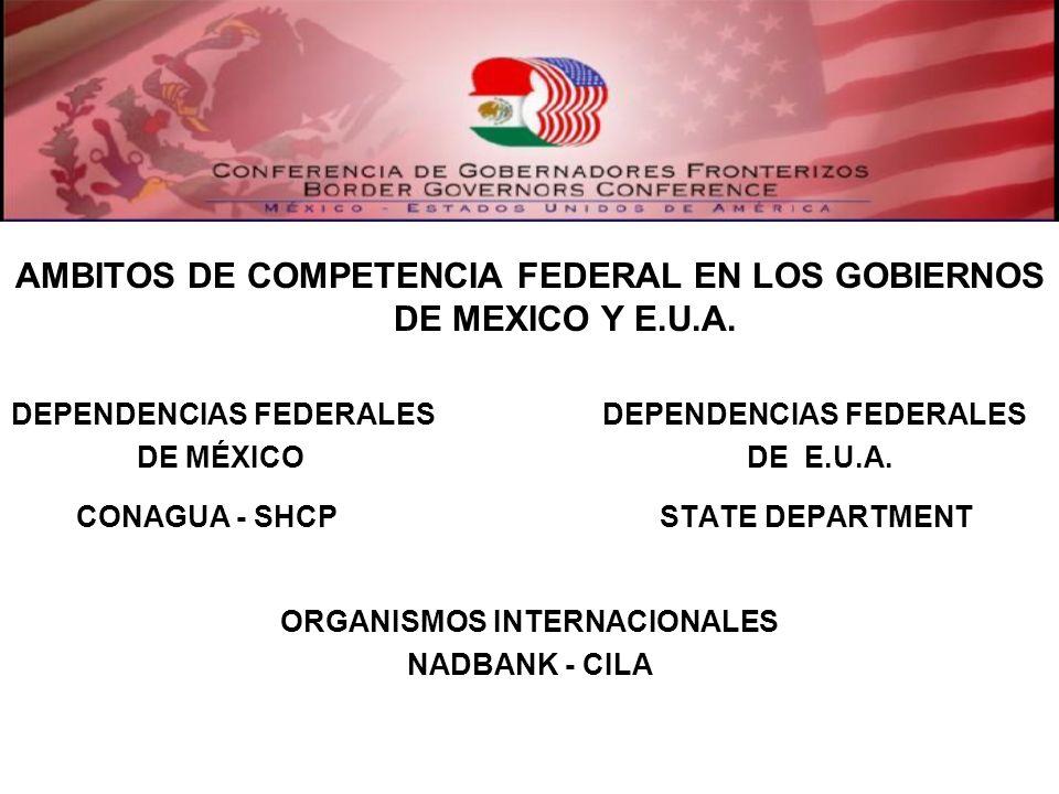 AMBITOS DE COMPETENCIA FEDERAL EN LOS GOBIERNOS DE MEXICO Y E.U.A. DEPENDENCIAS FEDERALES DE MÉXICO DE E.U.A. CONAGUA - SHCP STATE DEPARTMENT ORGANISM