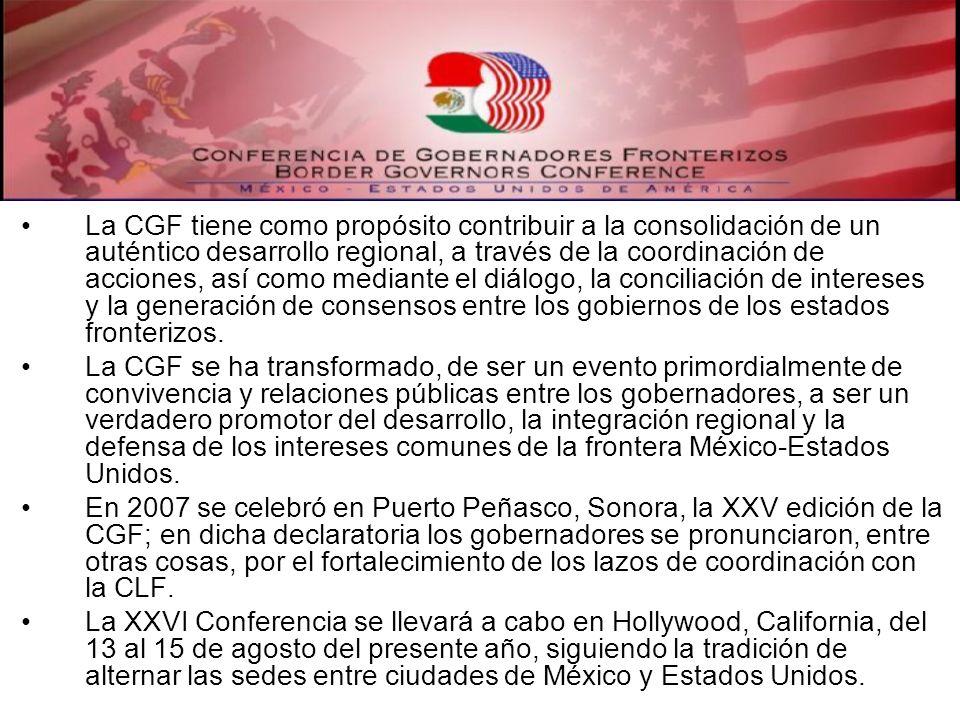 La CGF tiene como propósito contribuir a la consolidación de un auténtico desarrollo regional, a través de la coordinación de acciones, así como media