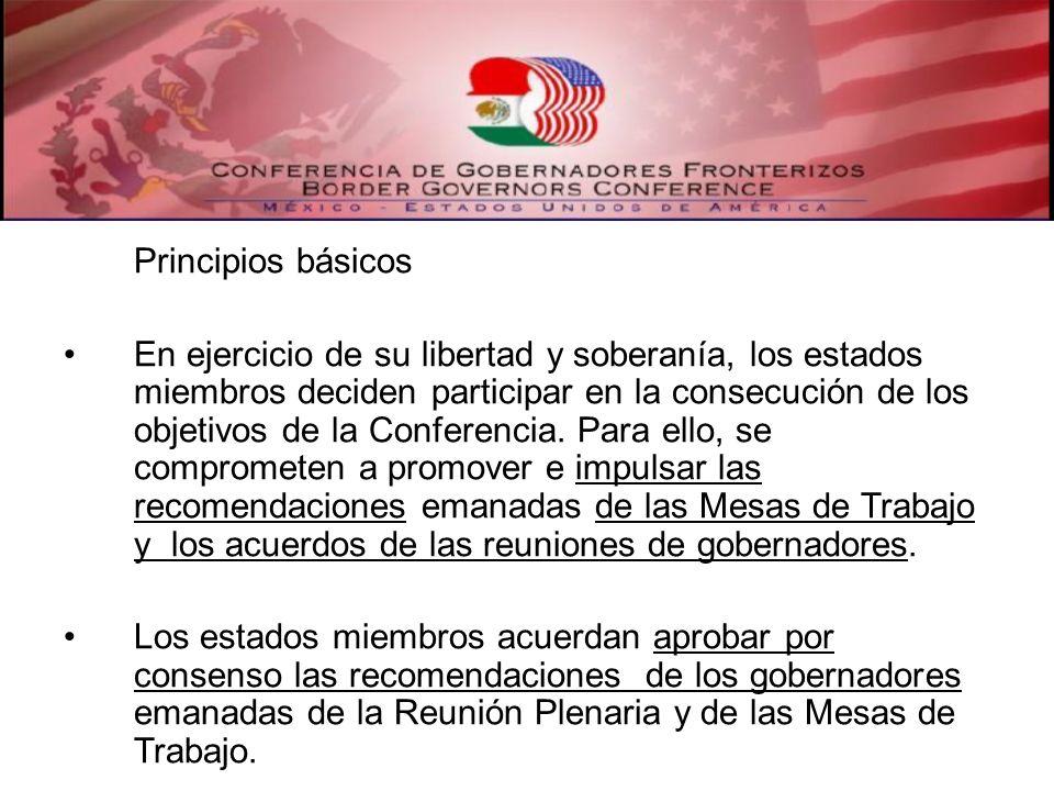 Principios básicos En ejercicio de su libertad y soberanía, los estados miembros deciden participar en la consecución de los objetivos de la Conferenc