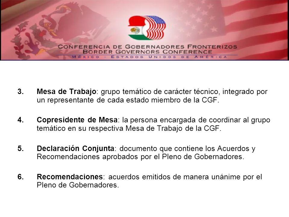 3.Mesa de Trabajo: grupo temático de carácter técnico, integrado por un representante de cada estado miembro de la CGF. 4.Copresidente de Mesa: la per