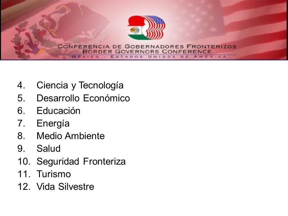4.Ciencia y Tecnología 5.Desarrollo Económico 6.Educación 7.Energía 8.Medio Ambiente 9.Salud 10.Seguridad Fronteriza 11.Turismo 12.Vida Silvestre