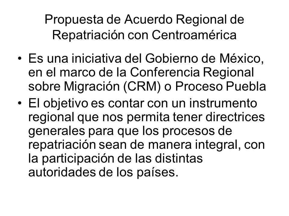 Propuesta de Acuerdo Regional de Repatriación con Centroamérica Es una iniciativa del Gobierno de México, en el marco de la Conferencia Regional sobre Migración (CRM) o Proceso Puebla El objetivo es contar con un instrumento regional que nos permita tener directrices generales para que los procesos de repatriación sean de manera integral, con la participación de las distintas autoridades de los países.