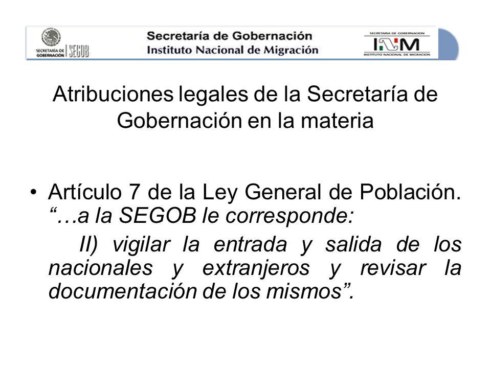 Atribuciones legales de la Secretaría de Gobernación en la materia Artículo 7 de la Ley General de Población.