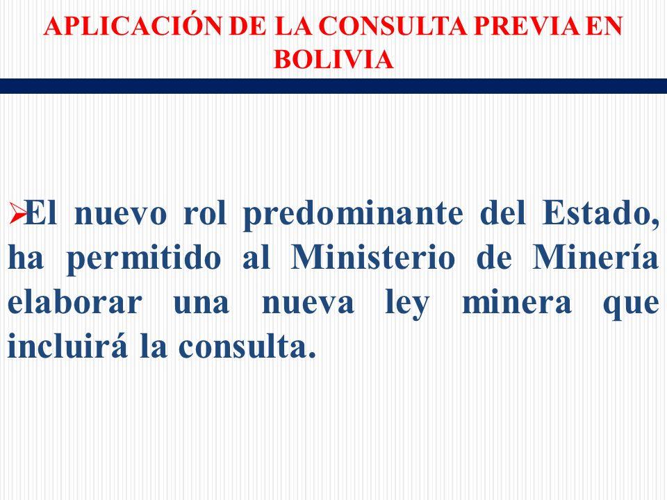 El nuevo rol predominante del Estado, ha permitido al Ministerio de Minería elaborar una nueva ley minera que incluirá la consulta.