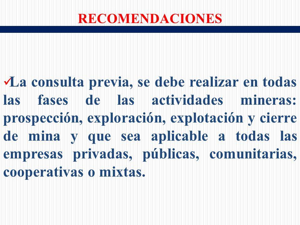 La consulta previa, se debe realizar en todas las fases de las actividades mineras: prospección, exploración, explotación y cierre de mina y que sea aplicable a todas las empresas privadas, públicas, comunitarias, cooperativas o mixtas.