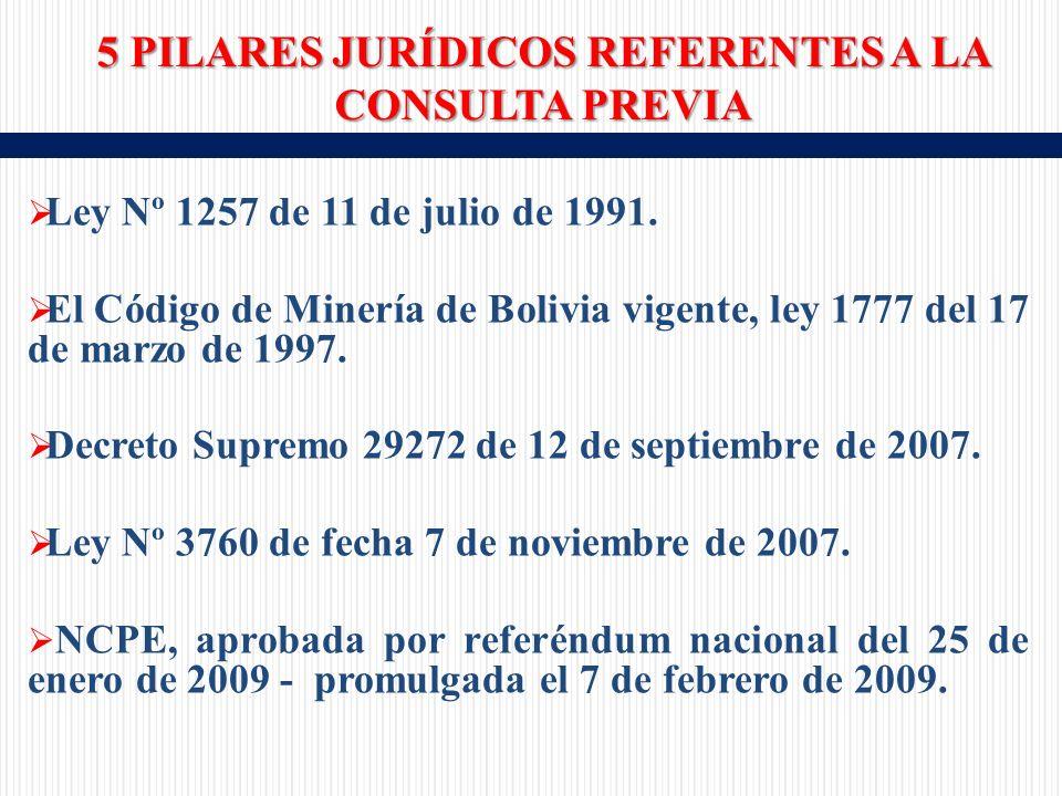 Ley Nº 1257 de 11 de julio de 1991. El Código de Minería de Bolivia vigente, ley 1777 del 17 de marzo de 1997. Decreto Supremo 29272 de 12 de septiemb