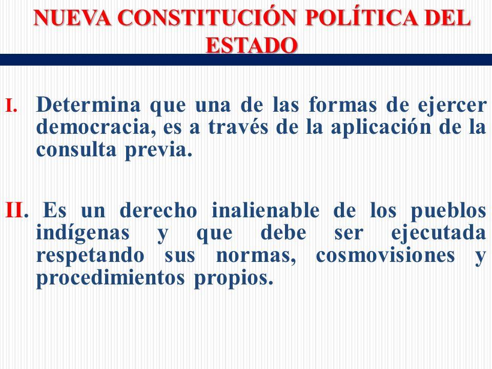 I. Determina que una de las formas de ejercer democracia, es a través de la aplicación de la consulta previa. II. Es un derecho inalienable de los pue