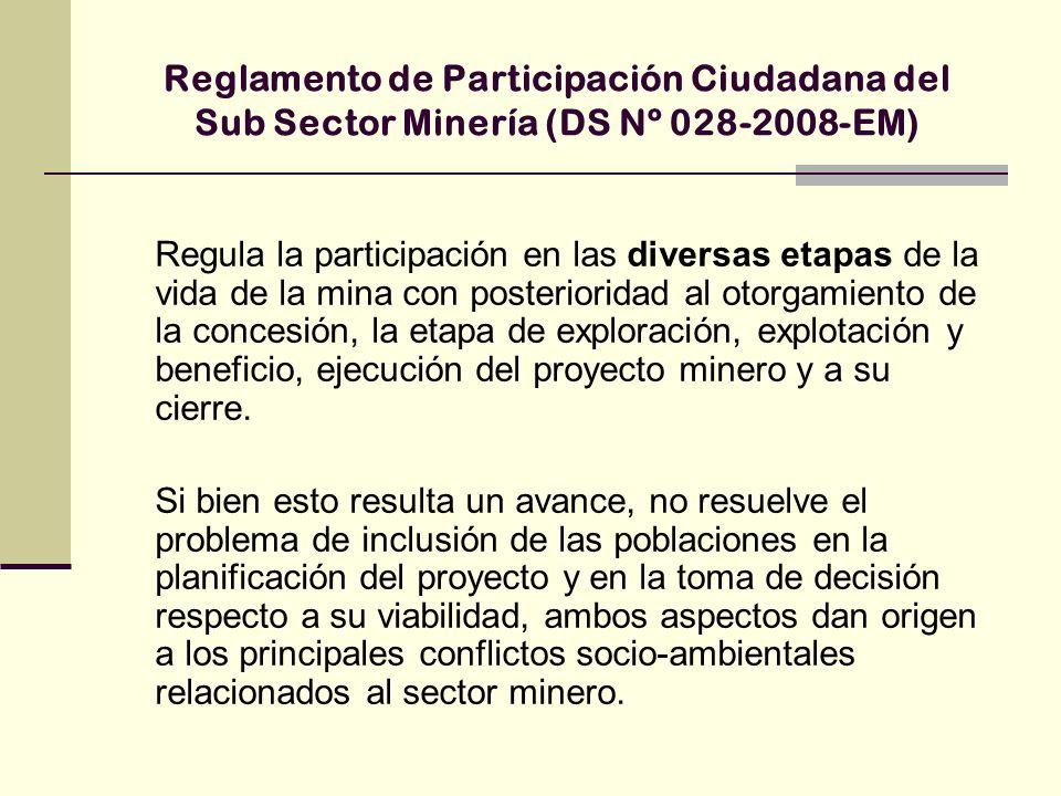 Reglamento de Participación Ciudadana del Sub Sector Minería (DS Nº 028-2008-EM) Regula la participación en las diversas etapas de la vida de la mina