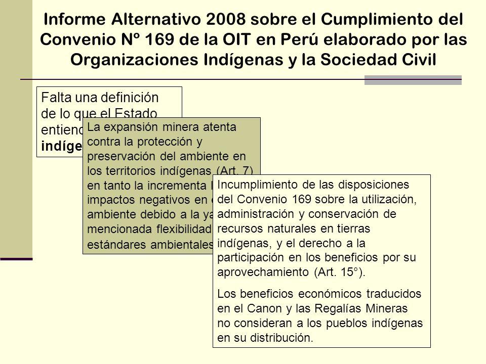 Informe Alternativo 2008 sobre el Cumplimiento del Convenio Nº 169 de la OIT en Perú elaborado por las Organizaciones Indígenas y la Sociedad Civil Fa