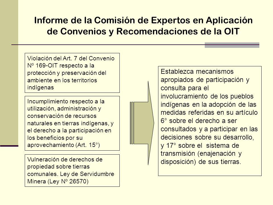 Informe de la Comisión de Expertos en Aplicación de Convenios y Recomendaciones de la OIT Violación del Art. 7 del Convenio Nº 169-OIT respecto a la p