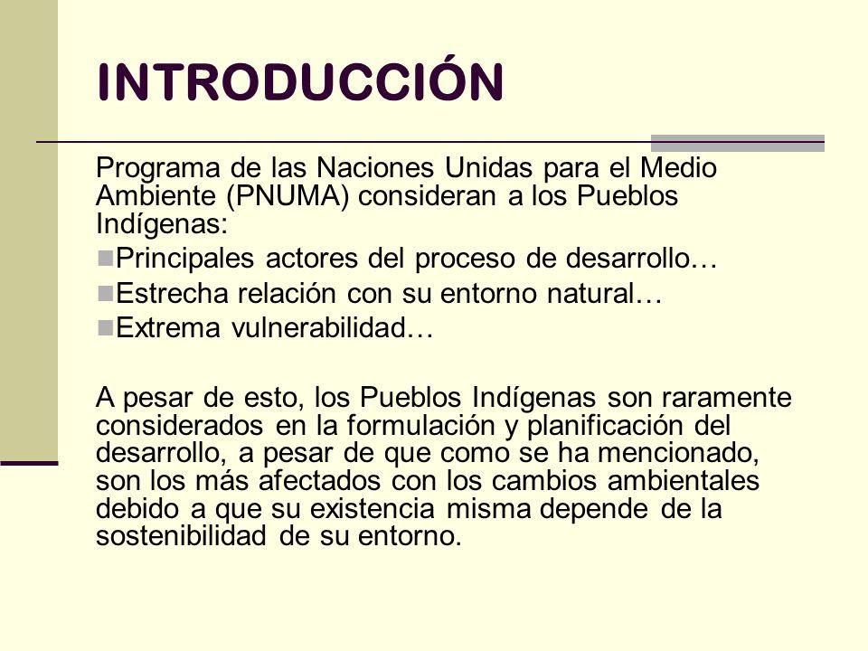 INTRODUCCIÓN Programa de las Naciones Unidas para el Medio Ambiente (PNUMA) consideran a los Pueblos Indígenas: Principales actores del proceso de des