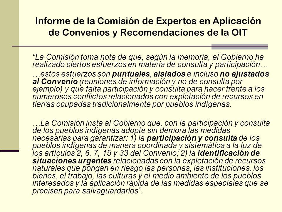 Informe de la Comisión de Expertos en Aplicación de Convenios y Recomendaciones de la OIT La Comisión toma nota de que, según la memoria, el Gobierno
