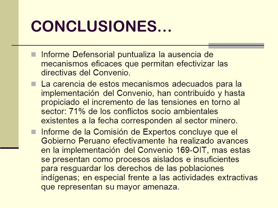 CONCLUSIONES… Informe Defensorial puntualiza la ausencia de mecanismos eficaces que permitan efectivizar las directivas del Convenio. La carencia de e