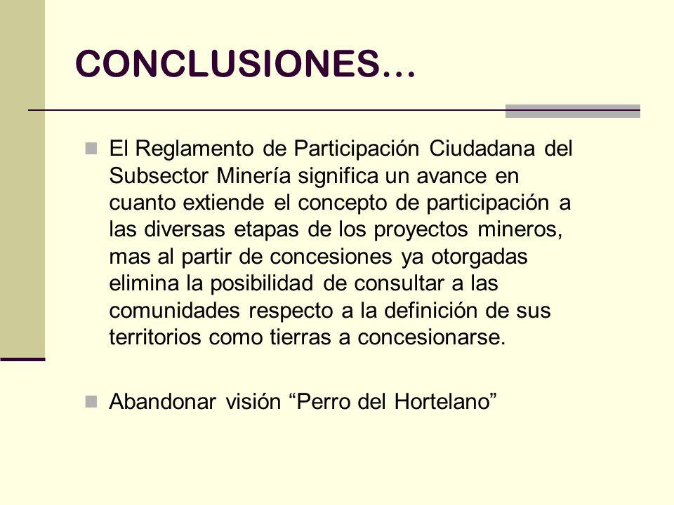 CONCLUSIONES… El Reglamento de Participación Ciudadana del Subsector Minería significa un avance en cuanto extiende el concepto de participación a las