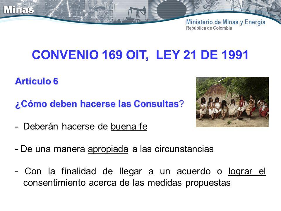 CONVENIO 169 OIT, LEY 21 DE 1991 Artículo 6 ¿Cómo deben hacerse las Consultas? - Deberán hacerse de buena fe - De una manera apropiada a las circunsta