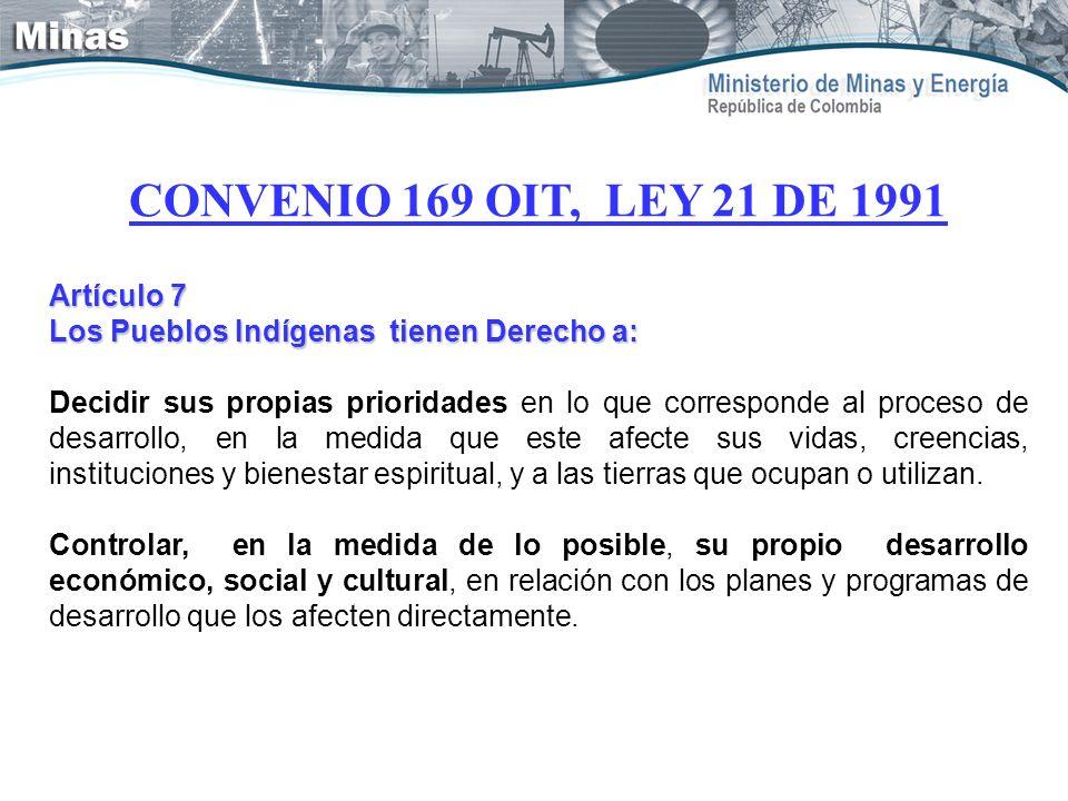 CONVENIO 169 OIT, LEY 21 DE 1991 Artículo 7 Los Pueblos Indígenas tienen Derecho a: Decidir sus propias prioridades en lo que corresponde al proceso d