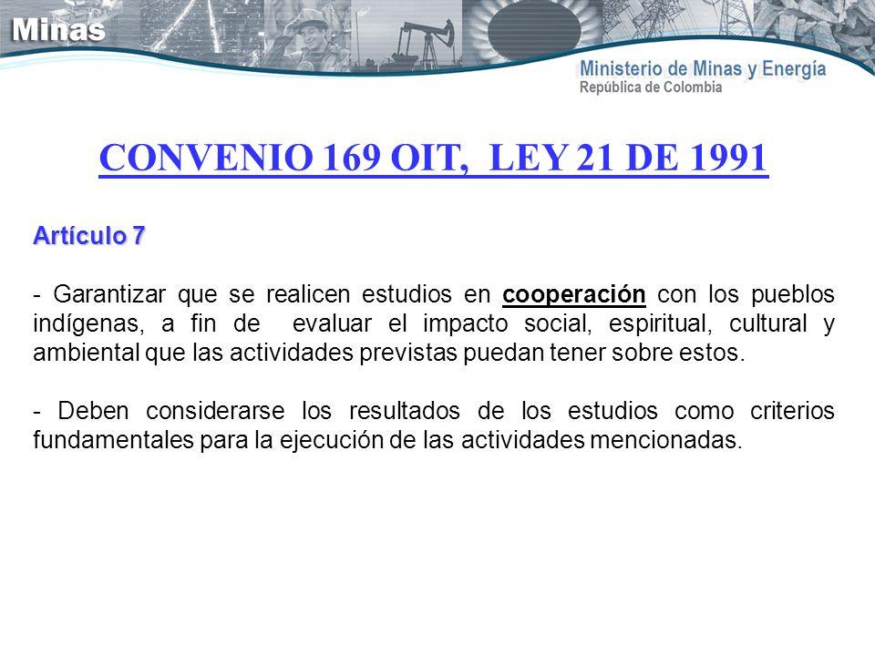 CONVENIO 169 OIT, LEY 21 DE 1991 Artículo 7 - Garantizar que se realicen estudios en cooperación con los pueblos indígenas, a fin de evaluar el impact