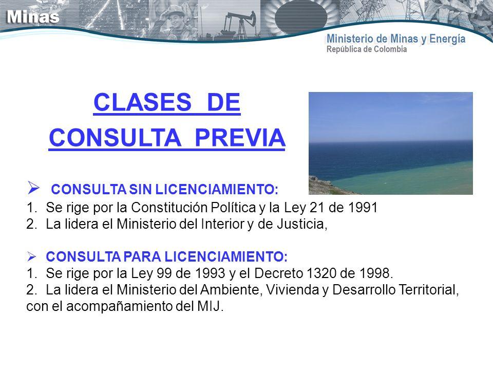 CLASES DE CONSULTA PREVIA CONSULTA SIN LICENCIAMIENTO: 1.Se rige por la Constitución Política y la Ley 21 de 1991 2.La lidera el Ministerio del Interi
