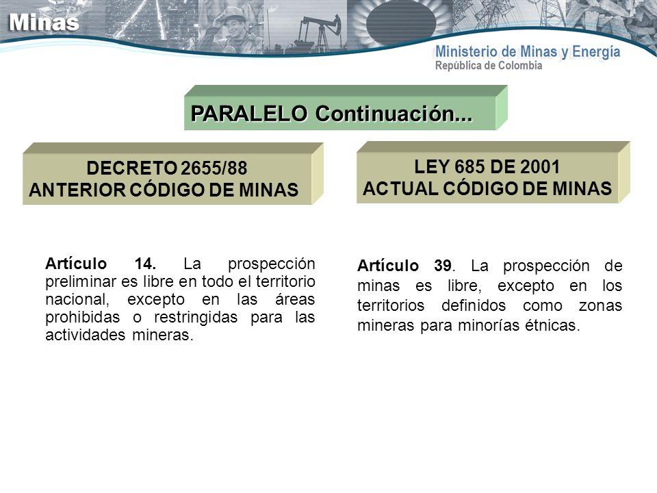 PARALELO Continuación... LEY 685 DE 2001 ACTUAL CÓDIGO DE MINAS DECRETO 2655/88 ANTERIOR CÓDIGO DE MINAS Artículo 14. La prospección preliminar es lib