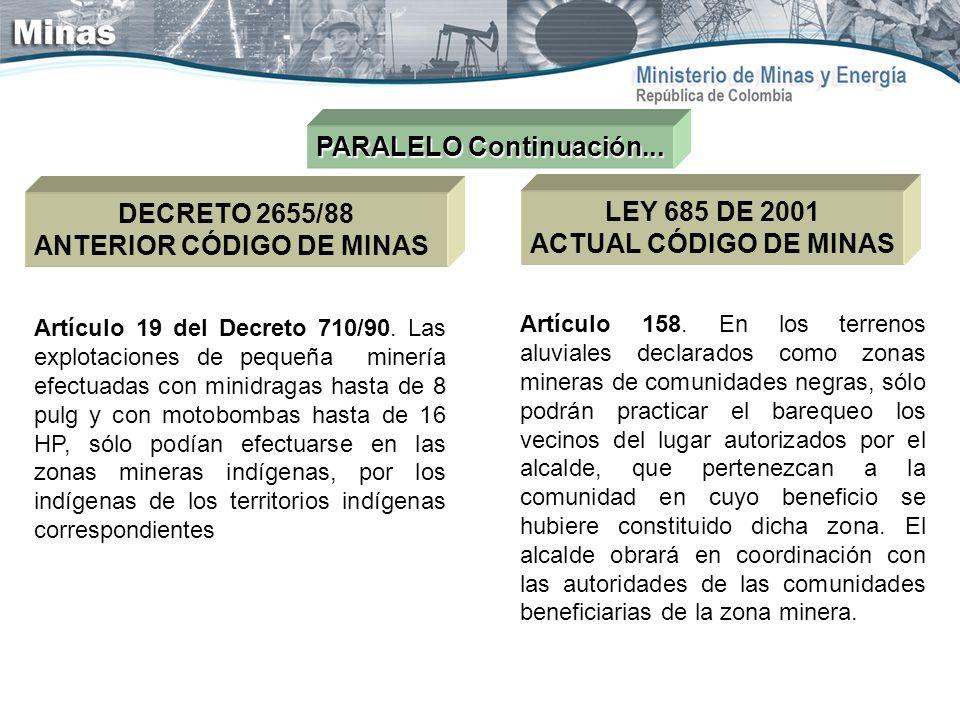 PARALELO Continuación... Artículo 19 del Decreto 710/90. Las explotaciones de pequeña minería efectuadas con minidragas hasta de 8 pulg y con motobomb