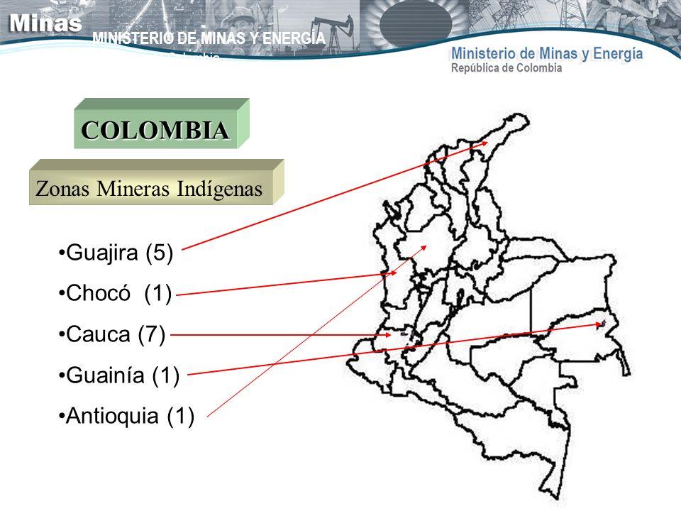 MINISTERIO DE MINAS Y ENERGÍA República de Colombia Guajira (5) Chocó (1) Cauca (7) Guainía (1) Antioquia (1) COLOMBIA Zonas Mineras Indígenas