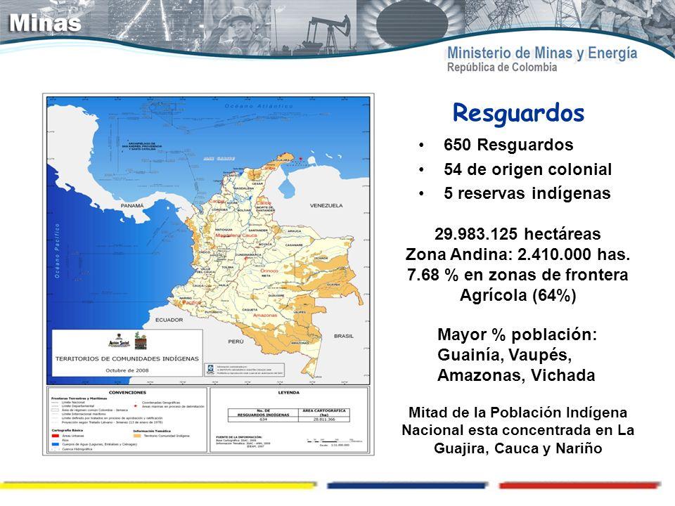 Resguardos 650 Resguardos 54 de origen colonial 5 reservas indígenas 29.983.125 hectáreas Zona Andina: 2.410.000 has. 7.68 % en zonas de frontera Agrí