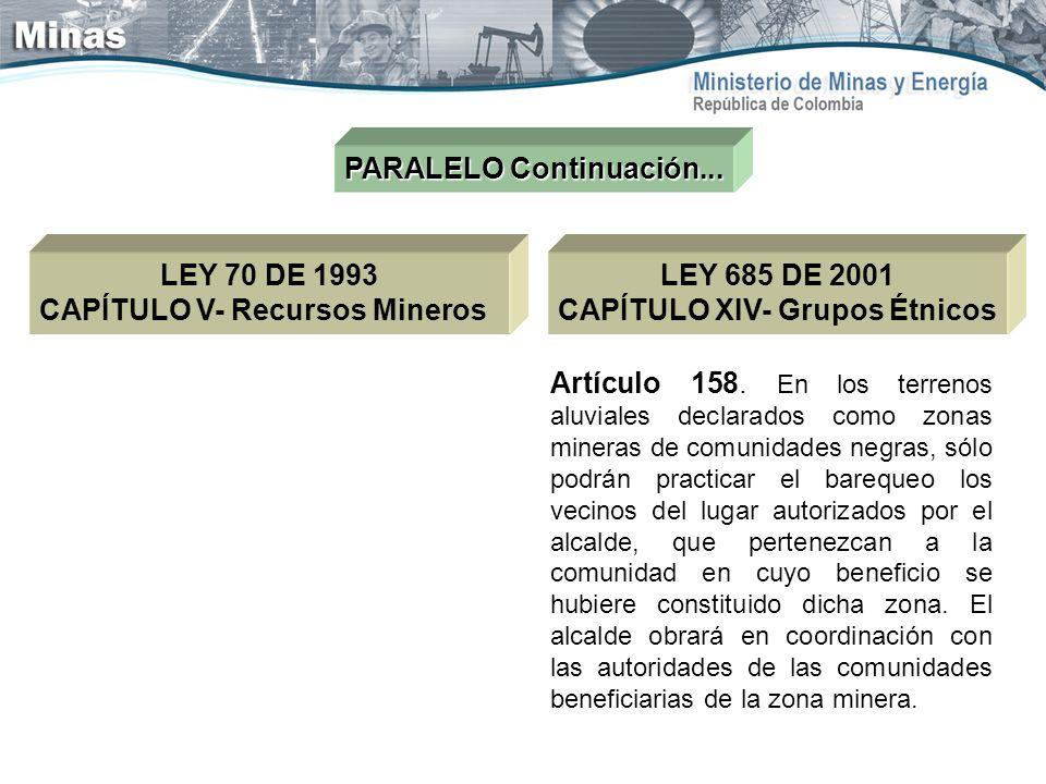 PARALELO Continuación... LEY 70 DE 1993 CAPÍTULO V- Recursos Mineros Artículo 158. En los terrenos aluviales declarados como zonas mineras de comunida
