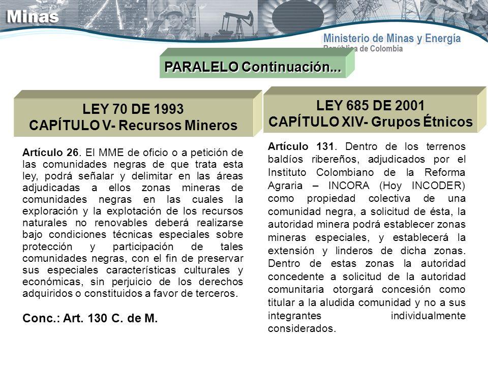 PARALELO Continuación... LEY 70 DE 1993 CAPÍTULO V- Recursos Mineros Artículo 26. El MME de oficio o a petición de las comunidades negras de que trata