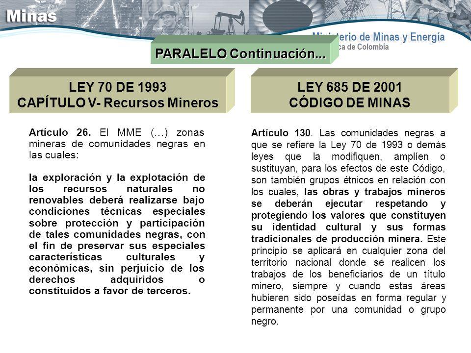 PARALELO Continuación... LEY 70 DE 1993 CAPÍTULO V- Recursos Mineros LEY 685 DE 2001 CÓDIGO DE MINAS Artículo 26. El MME (…) zonas mineras de comunida