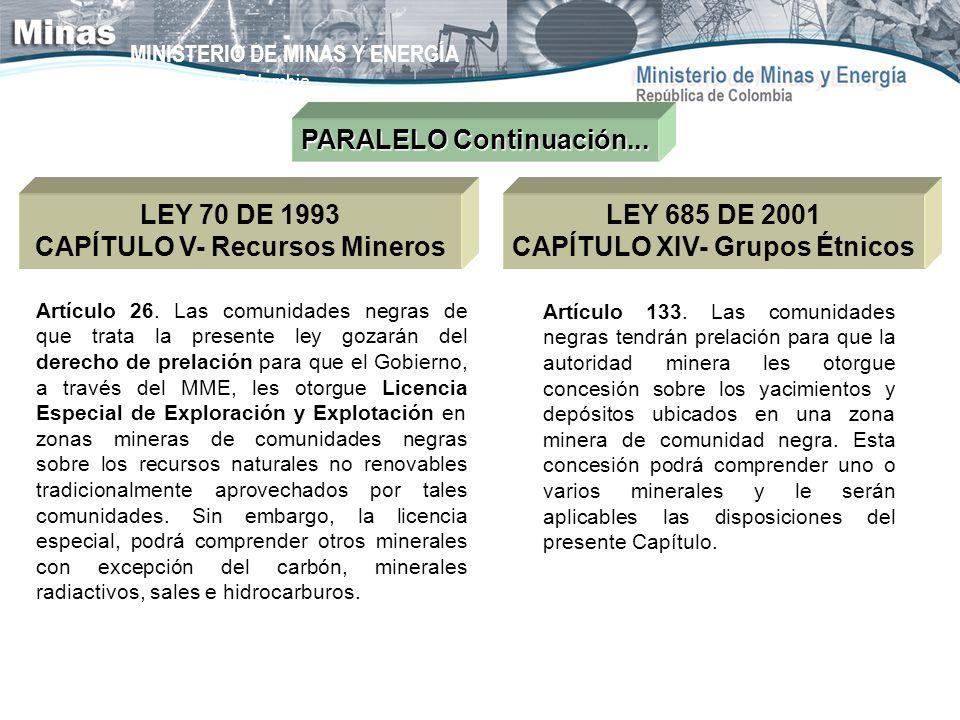 MINISTERIO DE MINAS Y ENERGÍA República de Colombia PARALELO Continuación... LEY 70 DE 1993 CAPÍTULO V- Recursos Mineros Artículo 26. Las comunidades