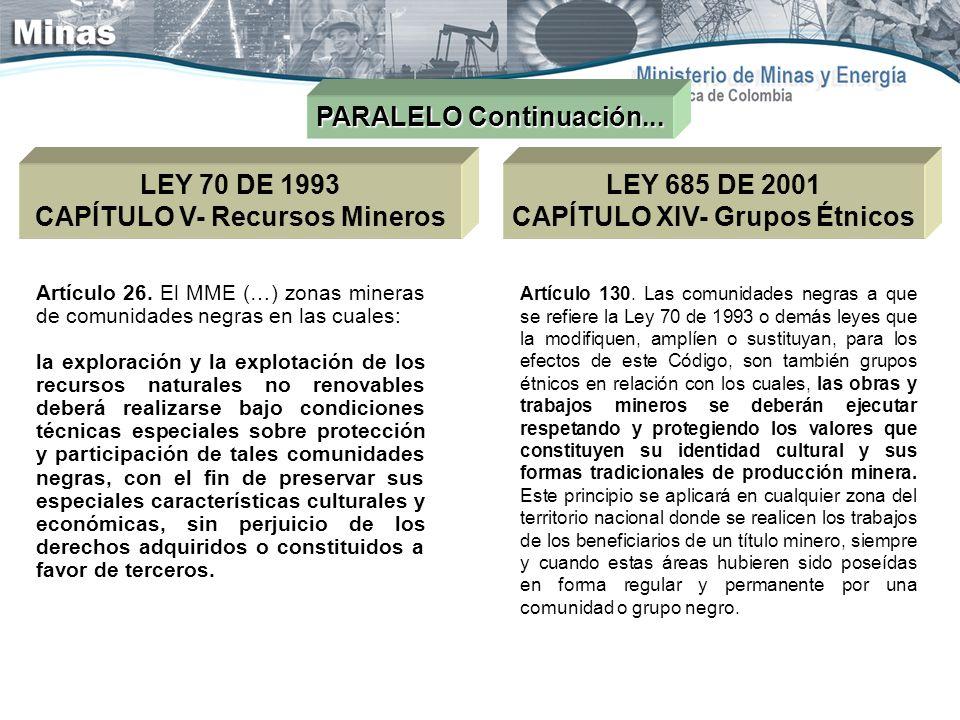 PARALELO Continuación... LEY 70 DE 1993 CAPÍTULO V- Recursos Mineros Artículo 26. El MME (…) zonas mineras de comunidades negras en las cuales: la exp